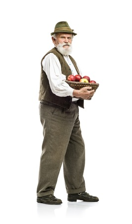 Old bearded farmer man in hat holding basket full of apples, isolated on white background