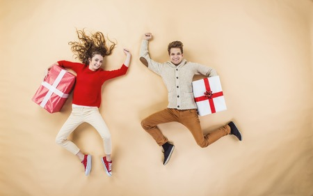 high jump: Funny Christmas Stock Photo
