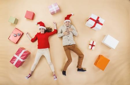 high angle shot: Funny Christmas Stock Photo