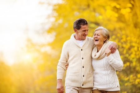 Active seniors having fun and relax in nature Stockfoto