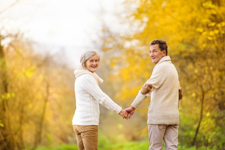 european people: Active seniors having fun and relax in nature Stock Photo