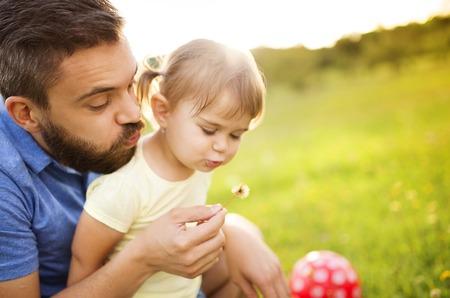 自然の中の家族 写真素材