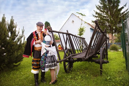 europe eastern: Love couple wearing traditional Eastern Europe folk costumes.