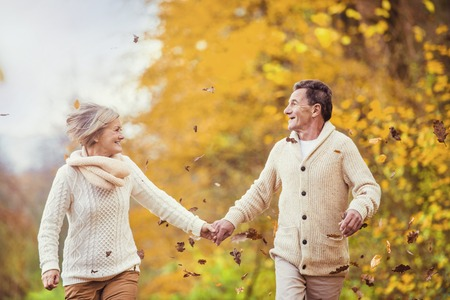 Active seniors having fun and playing with the leaves in autumn forest Stock Photo