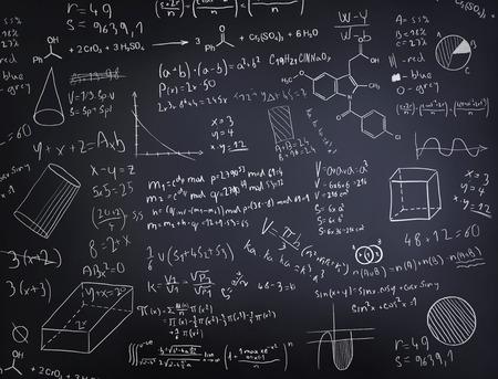 Ručně malovaná načrtnuté text a čísla na blacboard