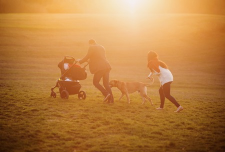 Happy young family on a walk outside on a green meadow at the sunset. photo