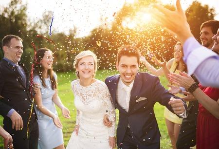 Full längd porträtt av nygift par och deras vänner på bröllopsfest duschat med konfetti i grönt soliga parken Stockfoto