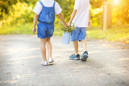 walk in: Cute little boy and girl taking a walk outside in nature on a sunny summer day