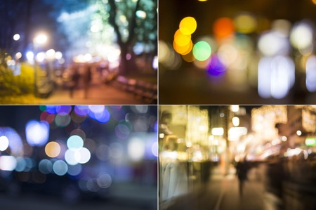abstract city: City at night - defocused urban abstract backgrounds Stock Photo