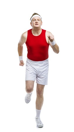 weak: Funny weak sportsman exercising. Studio shot on white background. Stock Photo