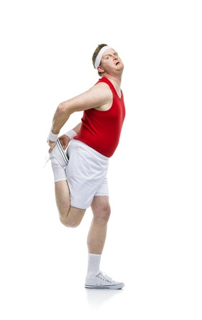 funny people: Funny weak sportsman exercising. Studio shot on white background. Stock Photo