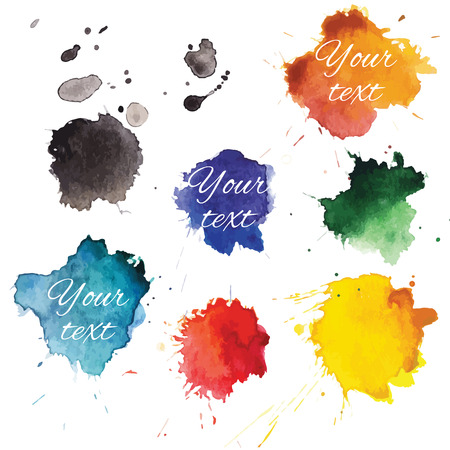 ink stain: Abstract hand drawn watercolor blots backround. Vector illustration.