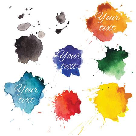 Abstract hand drawn watercolor blots backround. Vector illustration.