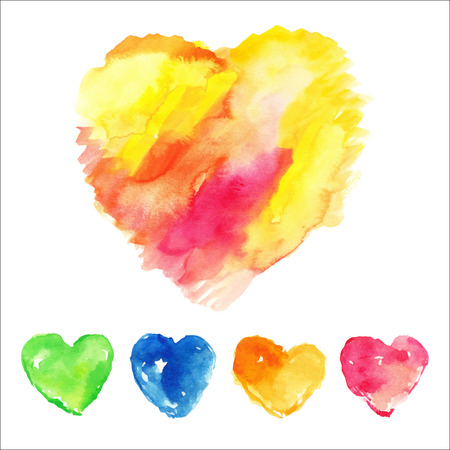 Set of colorful hearts. Watercolor vector illustration. Vector