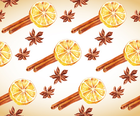 anise: Anise stars, cinnamon sticks and lemon halfs background. Vector watercolor illustration.