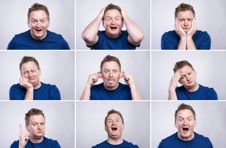 moods: Funny young adult showing his emotions expressively by his gestures and mimics . Studio shot on white background. Stock Photo