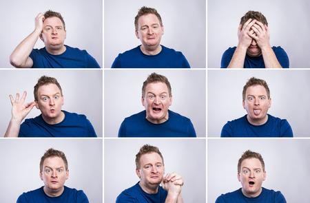 volto uomo: Divertente giovane adulto che mostra le sue emozioni espressamente dai suoi gesti e mimica. Studio girato su sfondo bianco.