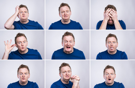 self expression: Funny young adult showing his emotions expressively by his gestures and mimics . Studio shot on white background. Stock Photo