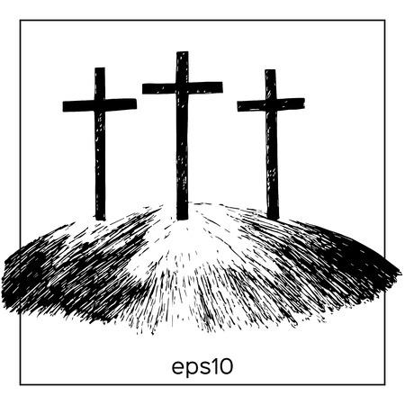 Hand gezeichnet Berg mit drei Kreuze. Vector Aquarellillustration.