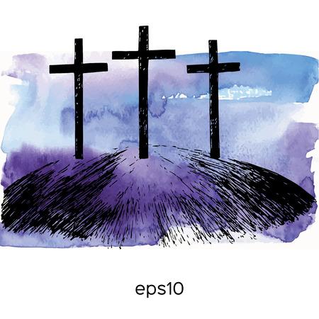pasqua cristiana: Mano montagna disegnato con tre croci. Vector acquerello illustrazione.