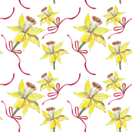 hand painted: Hand drawn daffodil flowers background. Vector illustration.