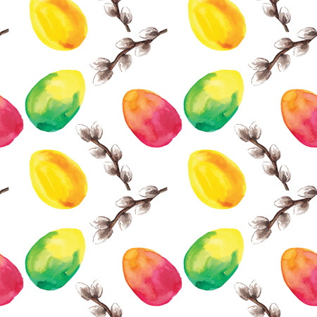 pussy willow: Hand drawn Easter eggs and pussy willow branches background. Vector illustration. Illustration