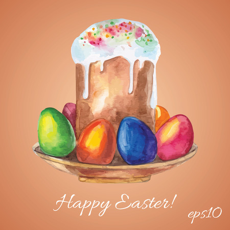 Hand drawn Easter cake and eggs. Vector illustration. Vector
