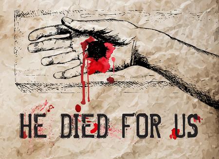 十字架につけられたキリストの描かれた手を手します。ベクトルの図。