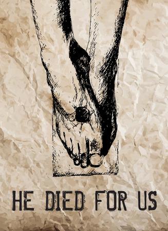 手描き、十字架につけられたキリストの足。ector イラスト。  イラスト・ベクター素材