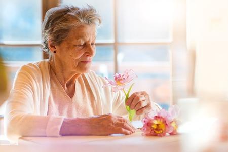 美しい年配の女性がピンクの花を保持します。 写真素材