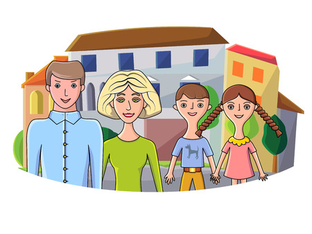 family in front of house: Vector illustration of young happy family posing in front of their house
