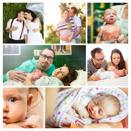 Composition of life of a young couple and arrival of their baby girl