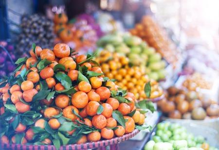 asian produce: Fresh fruit on traditional street market in Sapa, Vietnam. Stock Photo