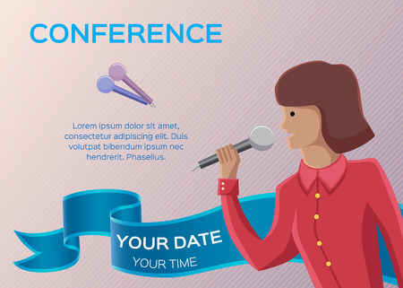 conference hall: Conference template illustration with space for your texts Illustration