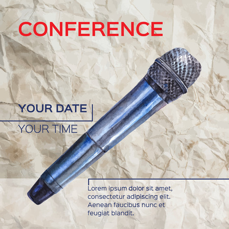 workshop seminar: Conference template illustration with microphone with space for your texts