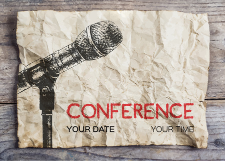 business event: Conference template illustration with microphone with space for your texts