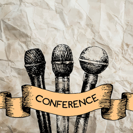 congress: Conference template illustration with microphones with space for your texts Illustration