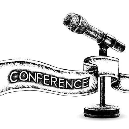 lecture hall: Conference template illustration with microphone with space for your texts