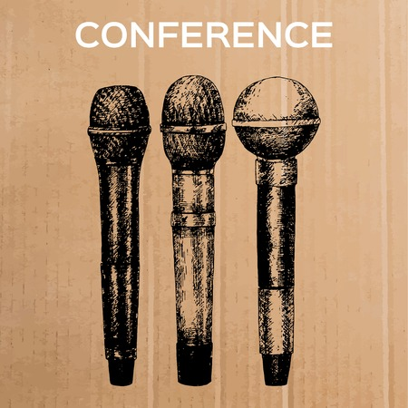 congresses: Conference template illustration with microphone with space for your texts