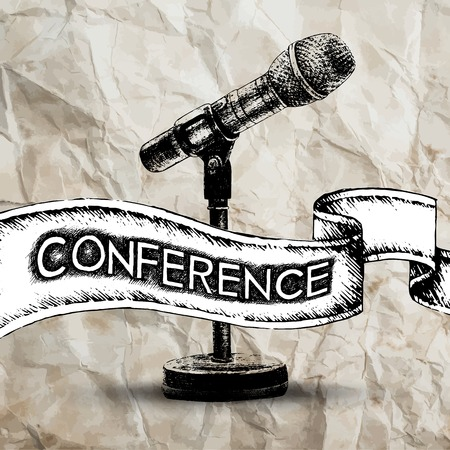 Conference template illustration with microphone with space for your texts Vector