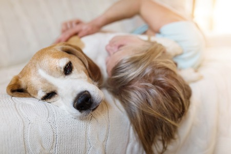 Senior woman with her dog on a couch inside of her house. Stockfoto
