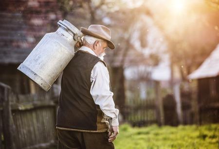 Senior farmer carrying kettle for milk on his back