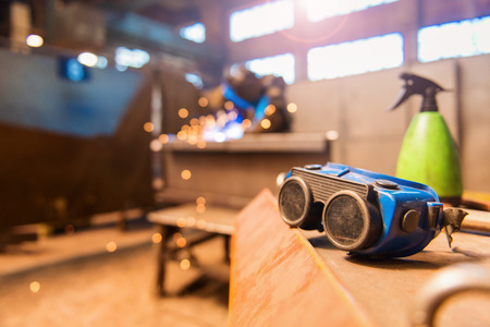 protective eyewear: Close up of blue protective eyewear for welding