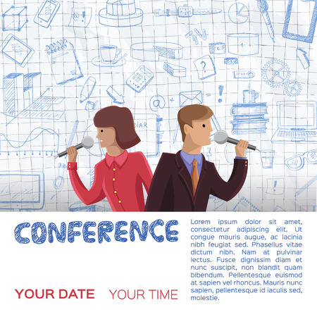 woman speaking: Conference template illustration with space for your texts Stock Photo