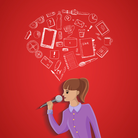 Conference illustration with hand drawn office equipment on red background Vector