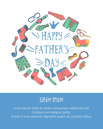 boxer shorts: Happy fathers day greeting card with space for text. Vector illustration.