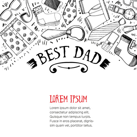 best dad: Happy fathers day greeting card with space for text. Vector illustration.