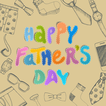papa: Happy fathers day greeting card. Vector illustration.