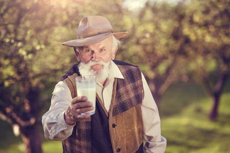 tomando leche: Granjero mayor con un vaso de leche fuera en la naturaleza verde
