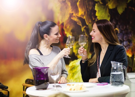 georgeous: Two beautiful women having fun in a wine bar